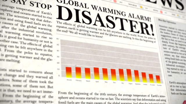 global warming warning newspaper and graphs - man made stock videos & royalty-free footage