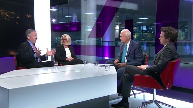 Globalisation debate Globalisation debate ENGLAND London GIR INT Ann Pettifor Douglas Murray and Edward Luce interview SOT re globalisation and...