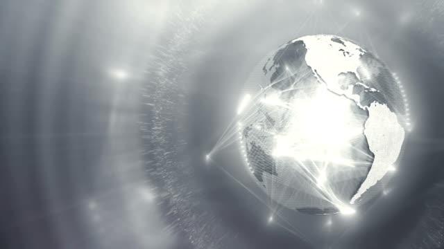 globus mit beweglichen verbindung erscheinen linien (silber / grau / weiß, rechts) - silberfarbig stock-videos und b-roll-filmmaterial