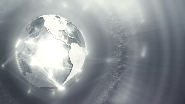 globe appearing with moving connection lines (silver / gray / white, left side) - global finance stock videos & royalty-free footage