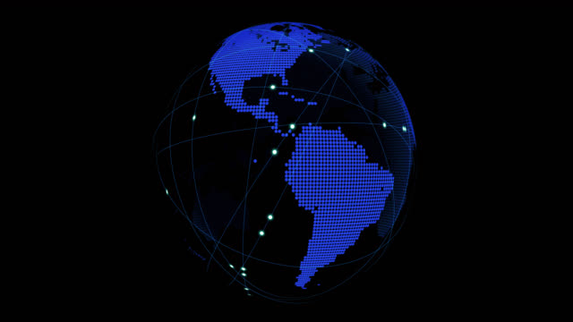 globus um anschlussleitungen - drahtrahmenmodell stock-videos und b-roll-filmmaterial