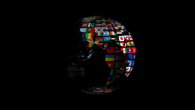 stockvideo's en b-roll-footage met globe made of all national flags - nationale vlag
