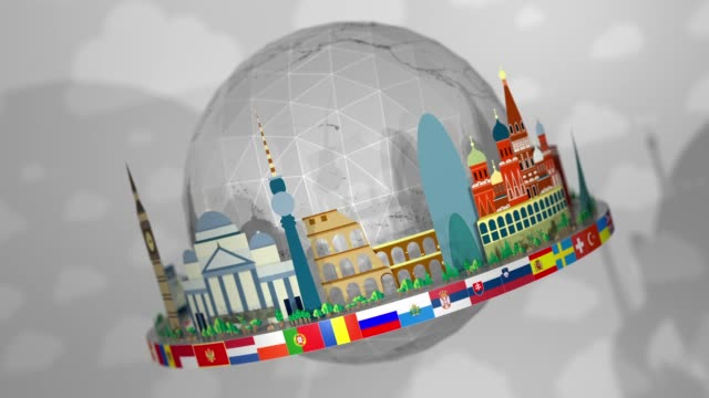 3d globe of famous european landmarks, including all european flags: seamless loop - all european flags stock videos and b-roll footage