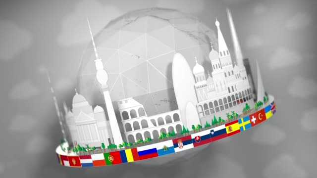 3d globe of famous european landmarks, paper cut-outs, including all european flags: seamless loop - all european flags stock videos and b-roll footage