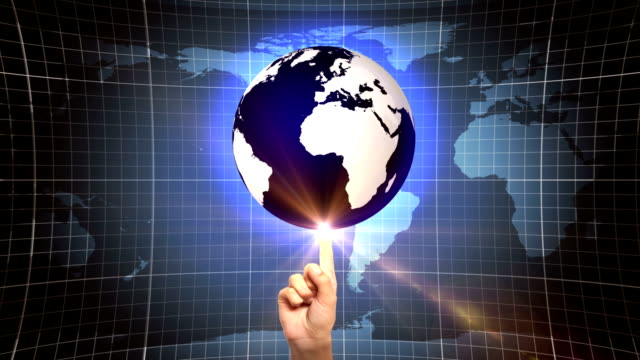 globe on forefinger (loopable) - politics abstract stock videos & royalty-free footage