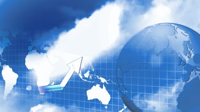 vídeos y material grabado en eventos de stock de cgi, multiple exposure, globe rotating against world map with graph - diagrama de línea