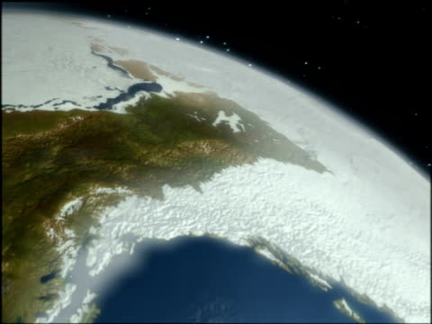 Globe showing Ice Age glaciation of North America