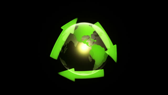 globe with recycling symbol (black) - loop - adobe after effects stock videos and b-roll footage
