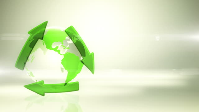 Globe with Recycling Symbol (Left Placed, Bright Background) - Loop