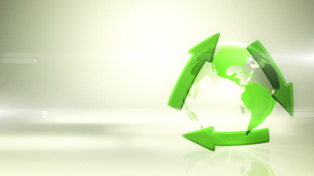 Globe with Recycling Symbol (Right Placed, Bright Background) - Loop