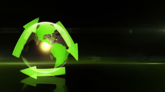 Globo com Símbolo de Reciclagem (esquerda colocado, fundo escuro)-Loop