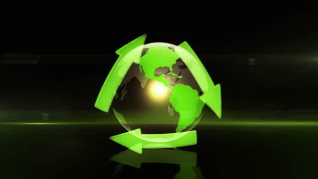 globe with recycling symbol (centered, dark background) - loop - adobe after effects stock videos and b-roll footage