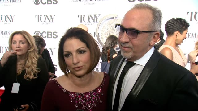 vídeos y material grabado en eventos de stock de interview gloria estefan and emilio estefan on being theater lovers on having their own musical in 2015 on what they look forward to seeing tonight... - emilio estefan