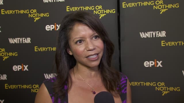 Gloria Reuben on her favorite Bond films on her favorite Bond at EPIX And VANITY FAIR Present The Premiere Of Everything Or Nothing The Untold Story...