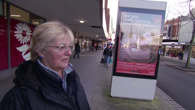 Gloucester council faces backlash over homeless poster campaign Vox pops Poster on billboard INT Homeless in shelter Anonymous shot of homeless...