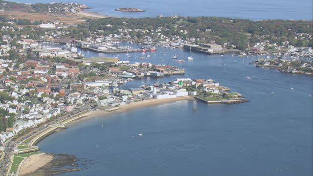 aerial gloucester harbor and waterfront properties / massachusetts, united states - gloucester massachusetts stock videos & royalty-free footage