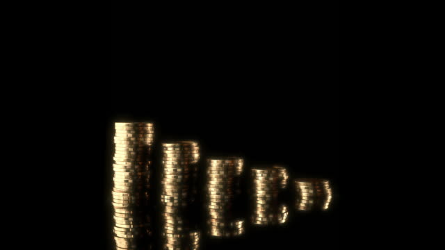 glow gold coin investment bar graph moving stopmotion - coin stock videos & royalty-free footage