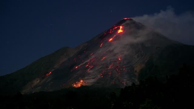 glowing avalanches on karangetang - erupting stock videos & royalty-free footage