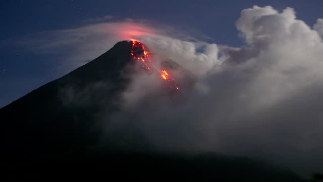 glowing avalanches on karangetang - indonesia volcano stock videos & royalty-free footage
