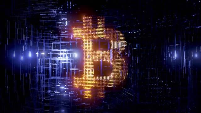 Glowing bitcoin logo