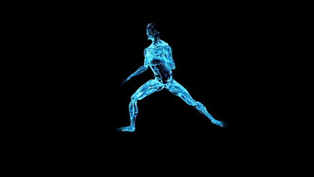 a glowing blue skeletal image performs karate moves against a black screen. - människoben bildbanksvideor och videomaterial från bakom kulisserna