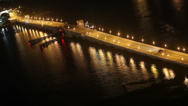 glowing causeway - venetian causeway bridge stock videos & royalty-free footage