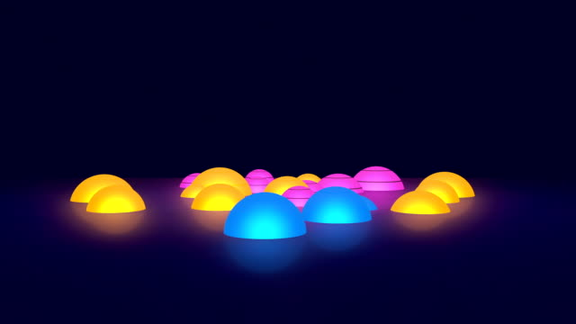 Glowing Colorful 3D Hemispheres Spinning On Dark Background