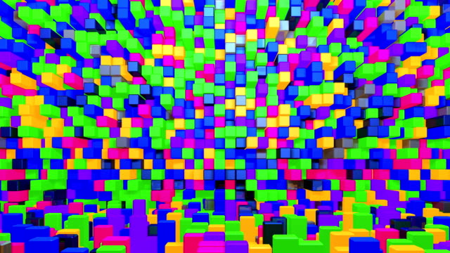 Glowing colorful cubes background.