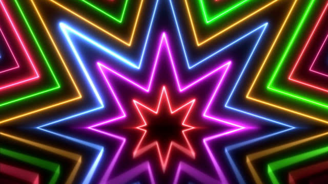glowing colorful neon lights - loopable - video jockey stock videos & royalty-free footage