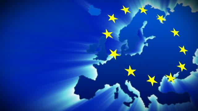 cgi, glowing europe map with - europäische union stock-videos und b-roll-filmmaterial