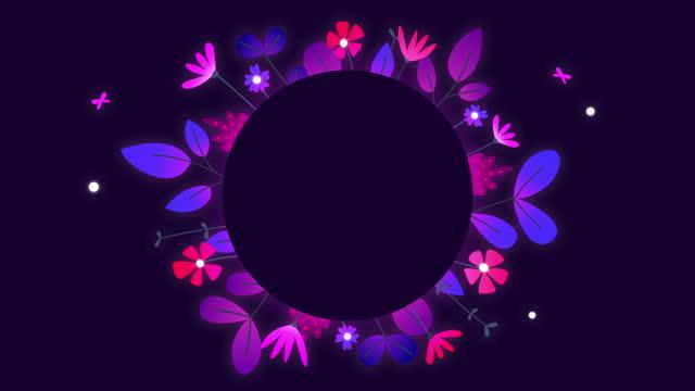 stockvideo's en b-roll-footage met gloeiende fluorescente bloemkaderanimatie met exemplaarruimte - tekstveld