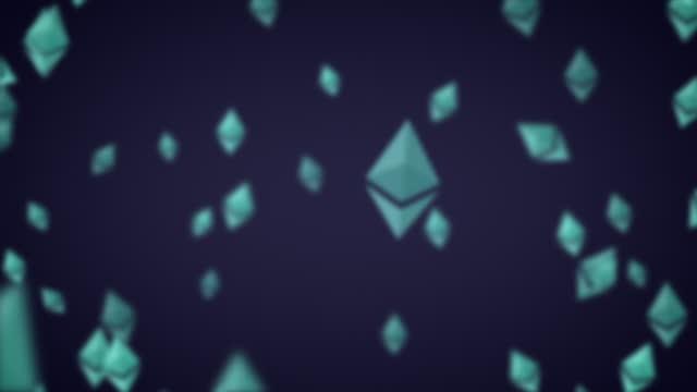 glowing gray green ethereum eth nft logo icon exploding outwards alpha luma matte - blockchain stock videos & royalty-free footage