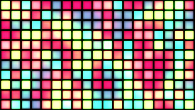 vídeos y material grabado en eventos de stock de cálida cuadrícula de multicoloured cuadrados/colores cambio con parpadeo generative efecto aleatorio - pájaro carpintero escapulario