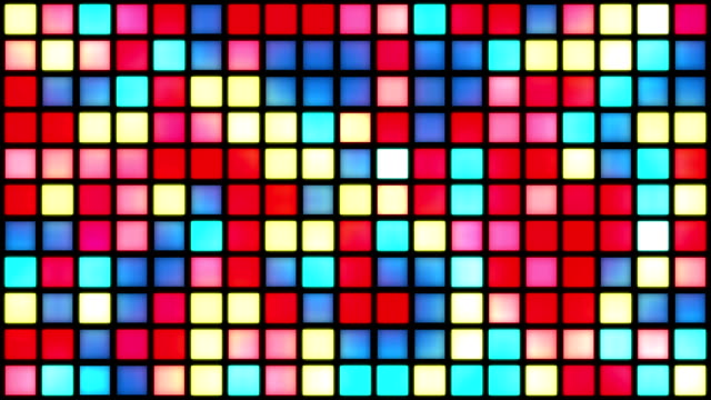 glowing grid of multicoloured squares | colours change with random generative flicker effect - dance music stock videos & royalty-free footage