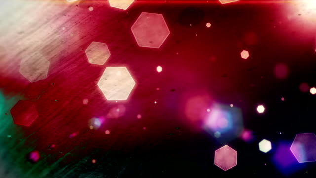 Glowing hexagons, bokeh, cool abstract balls, vibrant background
