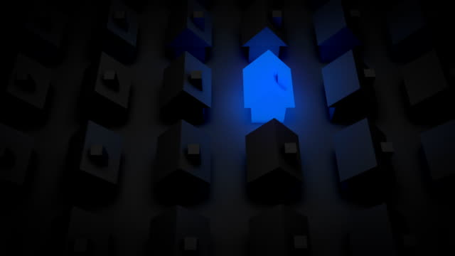 glowing house - blue (full hd) - auction stock videos and b-roll footage