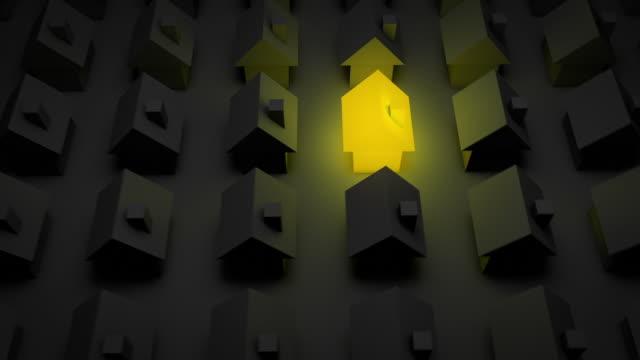 stockvideo's en b-roll-footage met glowing house - yellow (full hd) - exclusief