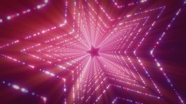 stockvideo's en b-roll-footage met glowing lights stargate loop background 4k stock video - star shape