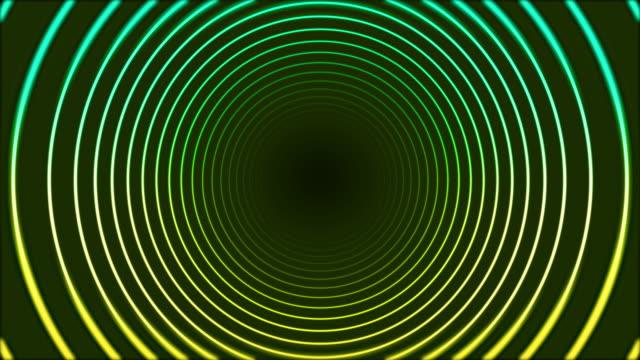 vídeos de stock, filmes e b-roll de 4k círculo de neon brilhante anéis de fundo abstrato - onda radiofônica