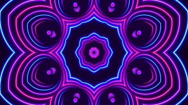 輝くネオン万華鏡ライト - ループ可能 - 発光ダイオード点の映像素材/bロール