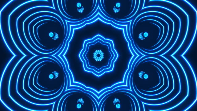 glowing neon kaleidoscope lights - loopable - video jockey stock videos & royalty-free footage