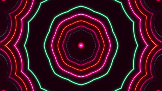glowing neon kaleidoscope lights - loopable - dance floor stock videos & royalty-free footage