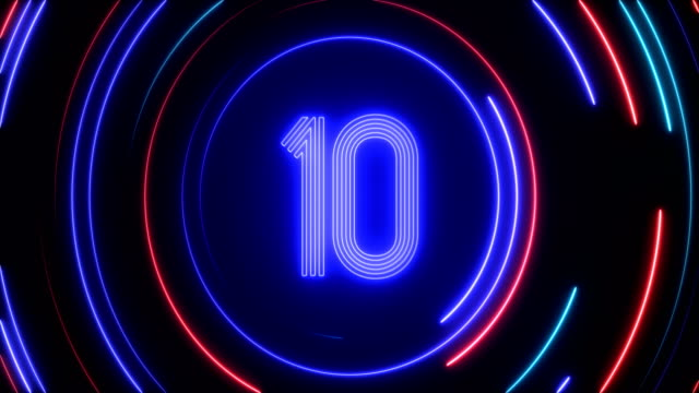 glowing neon light countdown - neon colored stock videos & royalty-free footage