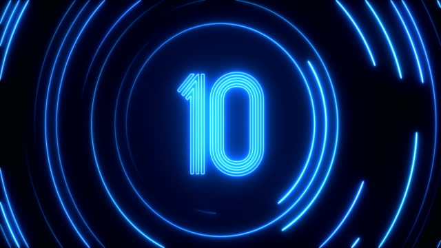glowing neon light countdown - conto alla rovescia video stock e b–roll