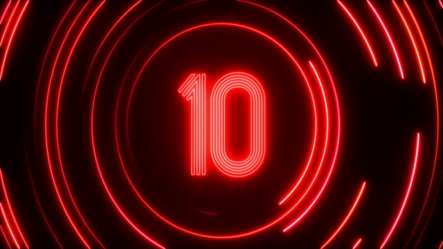 glowing neon light countdown - red stock videos & royalty-free footage