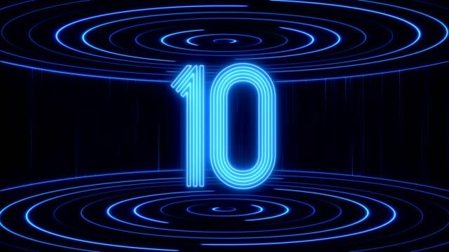leuchtende neon-licht-countdown - countdown stock-videos und b-roll-filmmaterial