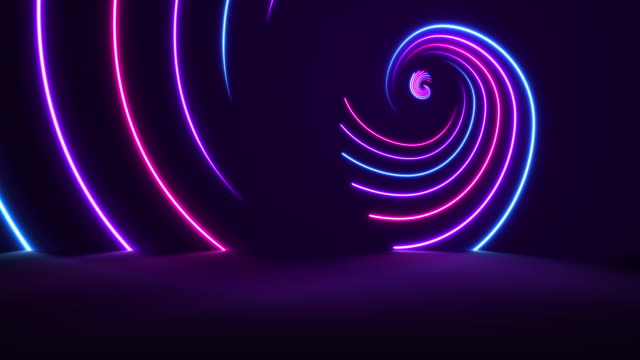 glowing neon lights - golden ratio backgrounds - loopable - spiral stock videos and b-roll footage