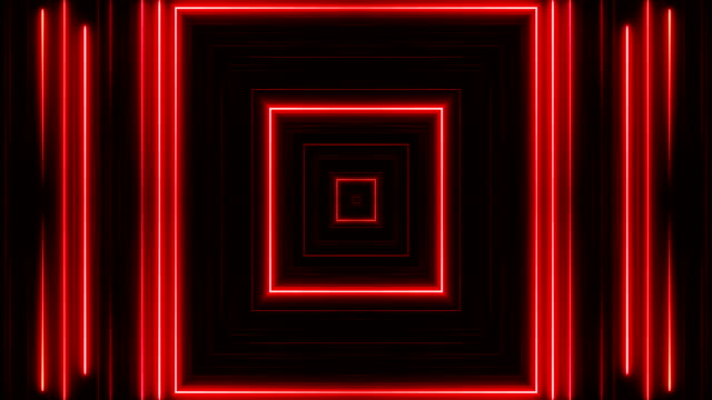 vídeos de stock e filmes b-roll de glowing neon lights - loopable - square