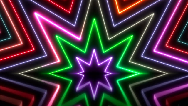 vídeos de stock e filmes b-roll de glowing neon lights - loopable - dance music