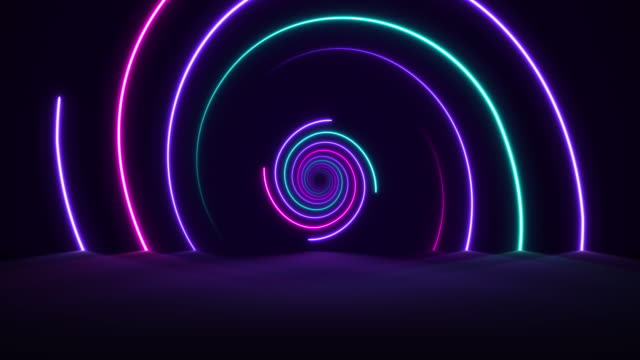 glowing neon lights - vaporwave spiral  backgrounds - loopable - spiral stock videos and b-roll footage